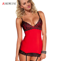 Free Shipping 2016 3 Pcs Women Sexy Lingerie Hot Lace Dress G String Garter Sleepwear Sexy