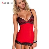 Free Shipping 2016 3 Pcs Women Sexy Lingerie Hot Lace Dress G String Garter Sleepwear Sexy