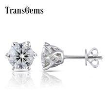 Trangems 14K 585 White Gold 2CTW 6.5mm GH Color Clear Heart Arrows Cut Moissanite Stud Earring Push Back for Women Wedding