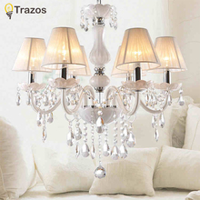 New Modern White crystal chandeliers for Livingroom Bedroom indoor lamp K9 crystal lustres de teto ceiling