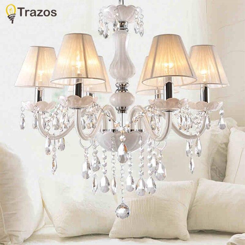 Nuevo blanco moderno cristal lámparas para sala de estar dormitorio interior K9 cristal lustres de teto techo