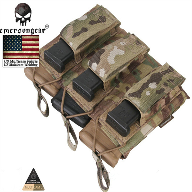 US $27 95 |2018 Emersongear Magazine Mag Pouch 5 56 Pistol Triple Open Top  Army Pouch Emerson Military Wargame Multicam AOR Black Khaki -in Pouches