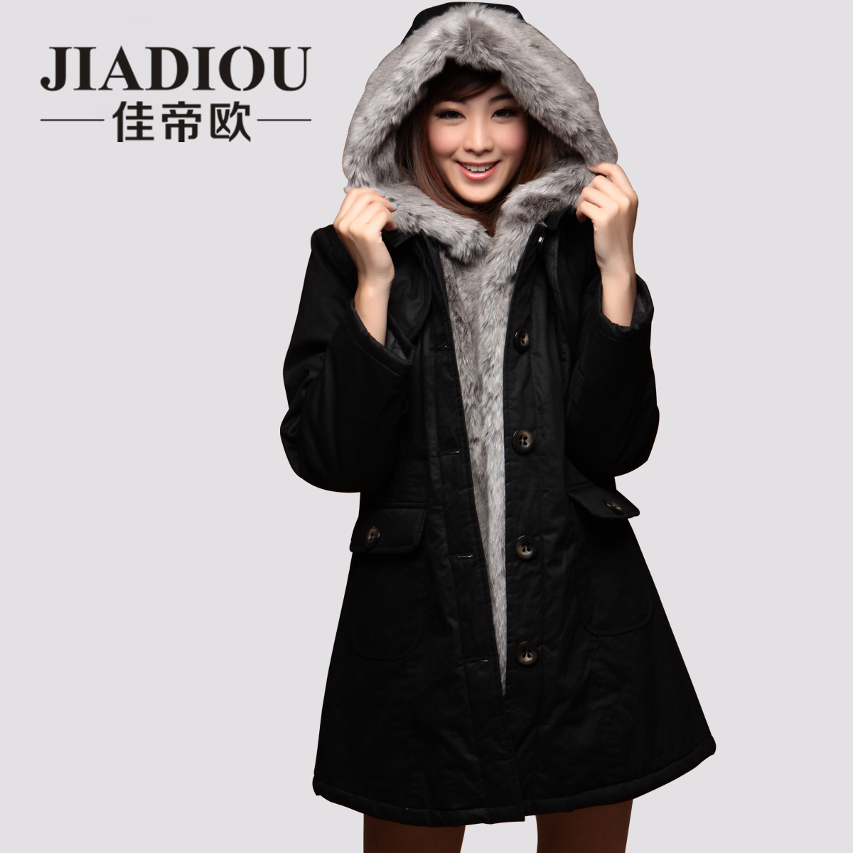 New 2014 Women Luxury Large Faux Fox Fur Collar Hood Wadded Jacket Winter Thick Warm Long Slim Cotton-Padded Jacket Xxxl D2586 2013 women autumn winter fashion candy color faux wool fur collar hood slim long thick cotton padded coatm l xl d2151