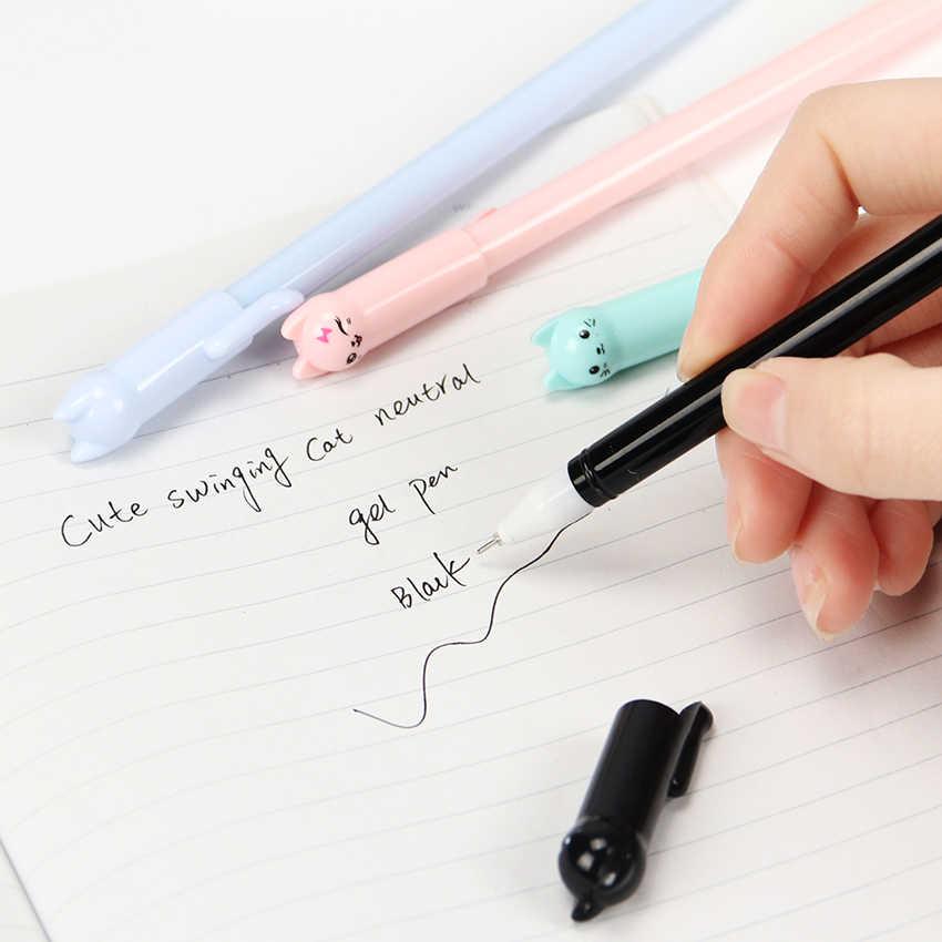 1 шт. милые кавайные черные чернила Кот мультипликационная гелевая ручка Пластиковые Гелевые Ручки для письма офисные школьные принадлежности канцелярские принадлежности