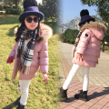 winter female child PU thickening wadded jacket cotton-padded jacket child medium-long down cotton