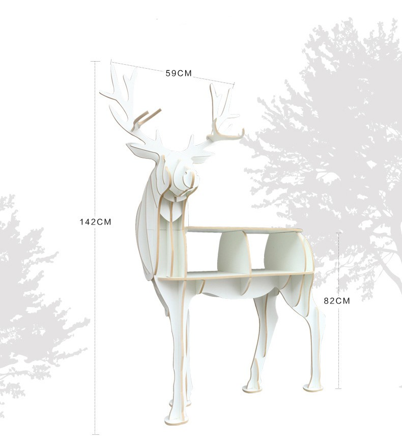 Bois artisanat cerf Table basse livre étagères cerf bureau cerf Table bois meubles - 4