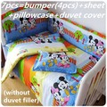 Discount! 6/7pcs Mickey Mouse Baby Bedding Set 100%Cotton Crib Set Crib Bedding Set ,120*60/120*70cm