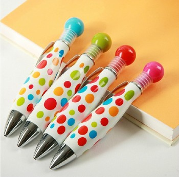 48pcs/lot Polka dot print candy color cute creative stationery bowling ballpoint pens short thick fat party promotion gift