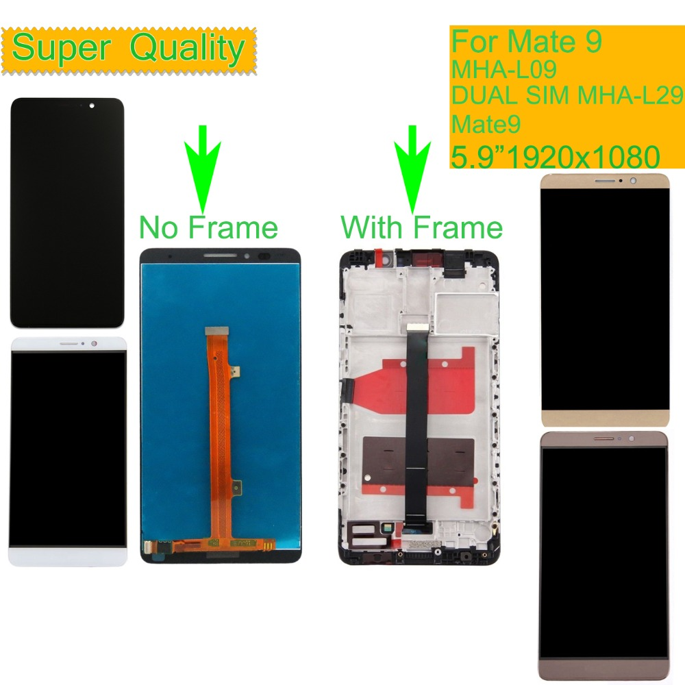 ORIGINAL LCD For HUAWEI MATE 9 MHA L09 LCD Display Touch Screen Digitizer Assembly Mate 9 MHA L29 LCD Complete With Frame in Mobile Phone LCD Screens from Cellphones Telecommunications