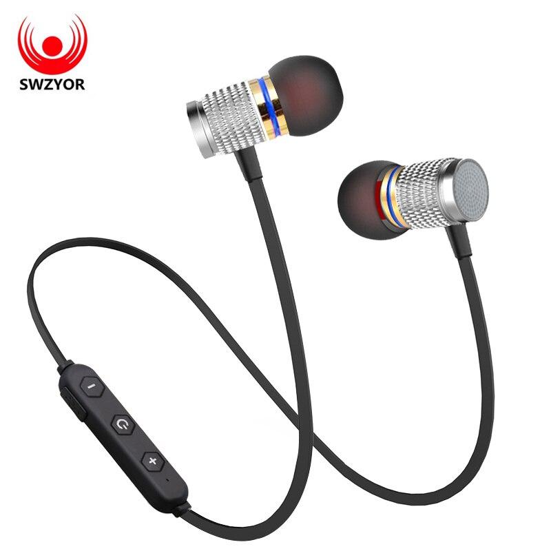 SWZYOR S08 Sans Fil Bluetooth Écouteurs Magnétique Écouteurs Sport Anti-sueur Métal Casque V4.1 Avec Microphone Pour IOS Android