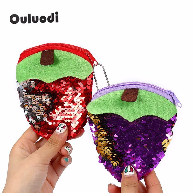 Plush fruit Purse women purse pocket change wallet for girls round organizer earphone pouch portable cute childern zipper purse