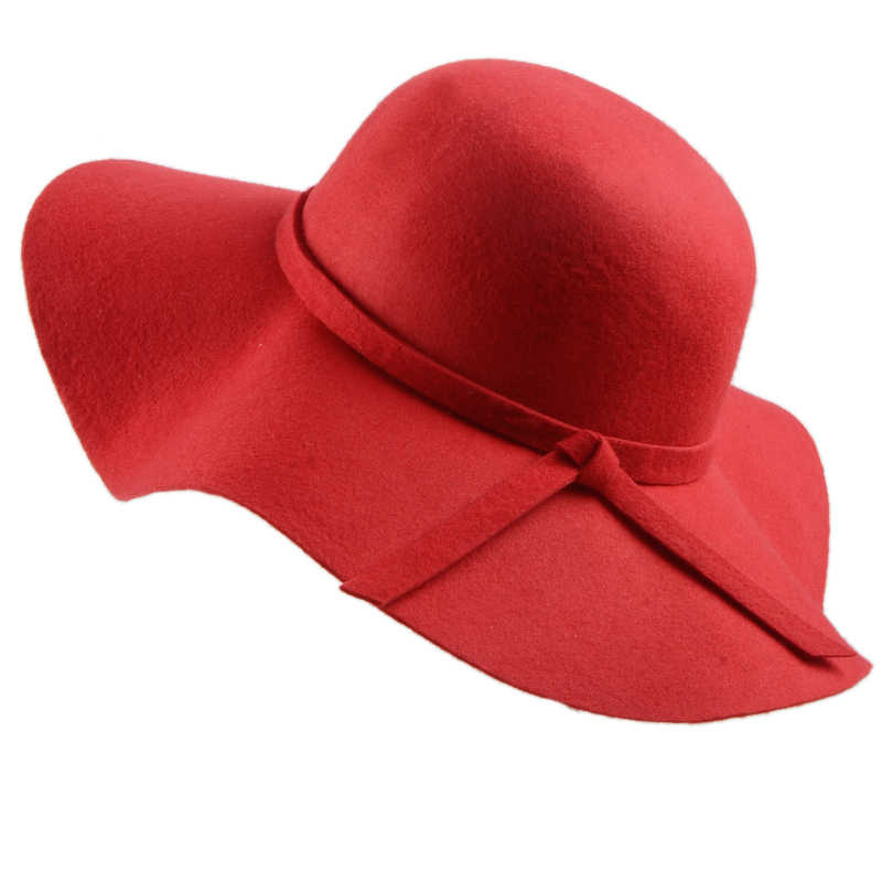 c2523de5fdaca ... (13 Colors)High Quality 100% Wool Fashion New Vintage Women Ladies Floppy  Wide ...