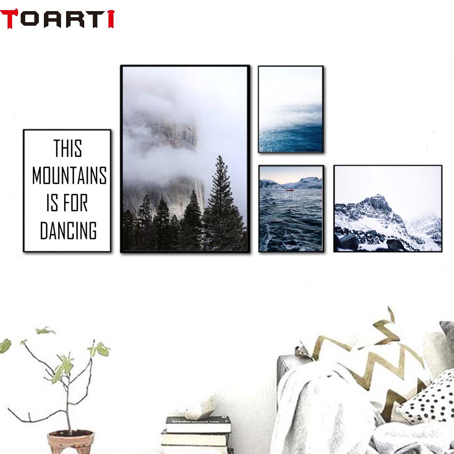 The Vast Sea Mountain Is For Dancing Nordic Landscape Poster&Print Wall Picture For Bedroom Canvas Painting Art Mural Home Decor (6)