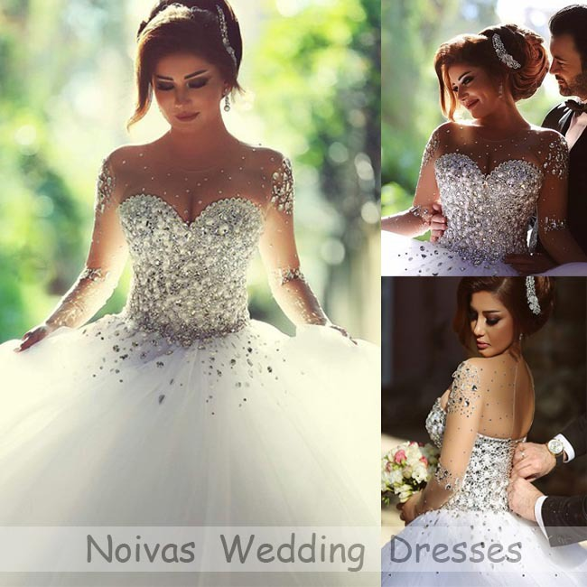 Vestidos De Noiva 2015 Princess Ball Gowns Wedding Dresses Sheer