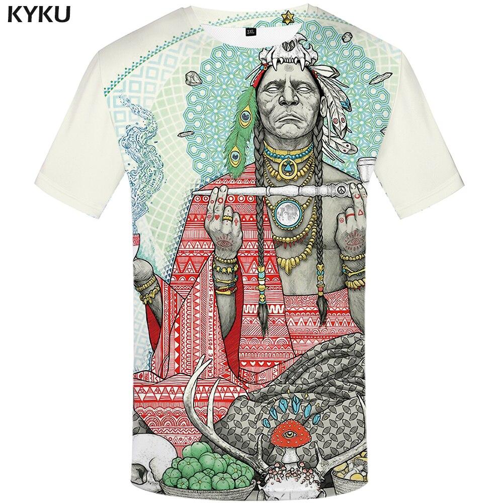 Funny T Shirts Indians T-shirt Men Harajuku T-shirts 3d America Tshirt Printed Feather Tshirts Casual Colorful Anime Clothes