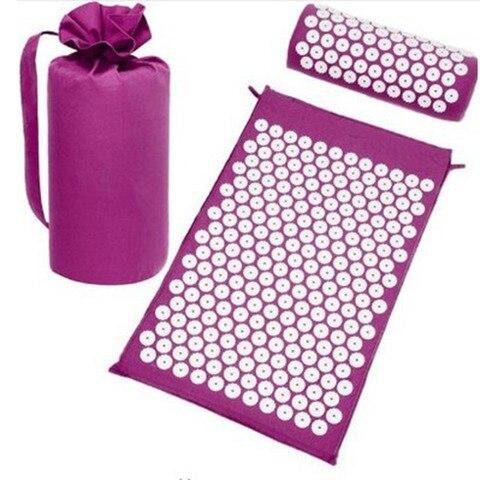 Massager almofada conjuntos de acupuntura massagem acupuntura esteira aliviar o estresse dor nas costas rosa