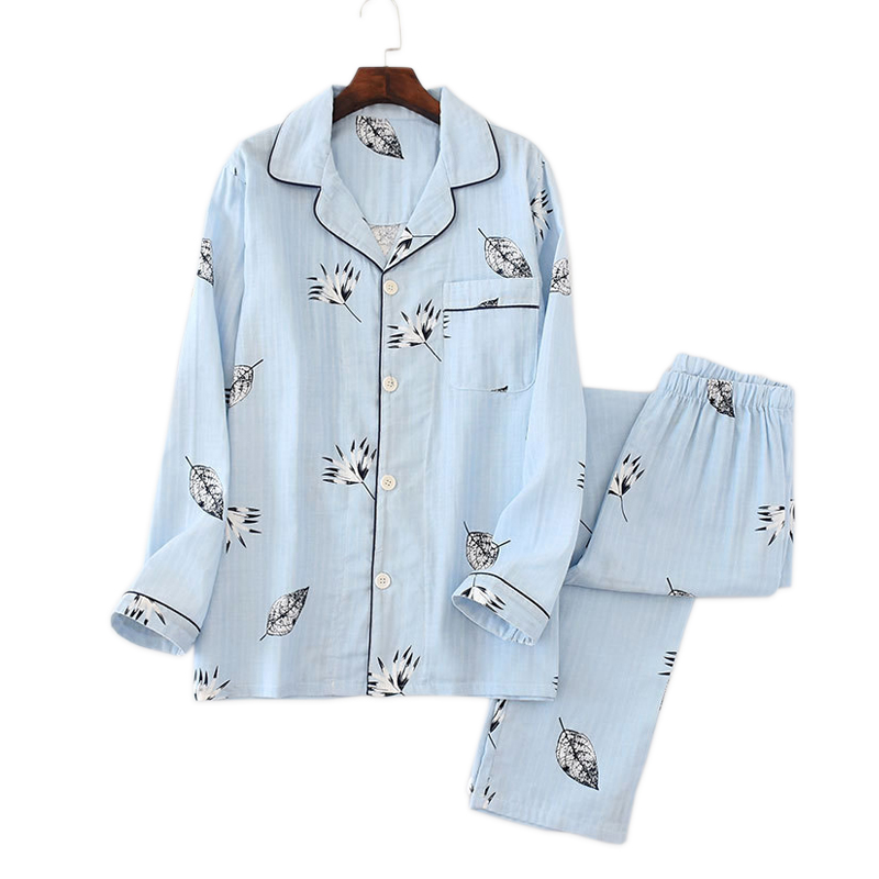 Spring Korea Fresh Pajama Sets Men Pijama Hombre 100% Gauze Cotton Casual Male Long Sleeve Cozy Fashion Pyjamas Men