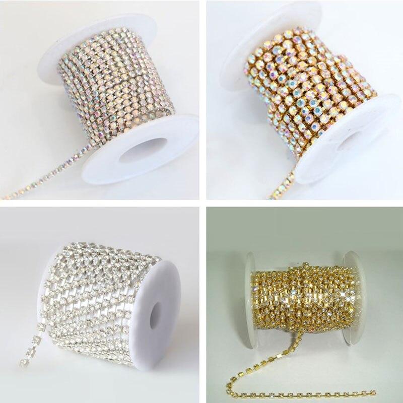 10 ярдов/R 4 размера высокое качество далеко кристалл AB стекло пришить на цепочка со стразами с серебряной база пришить отделкой для одежды B3113
