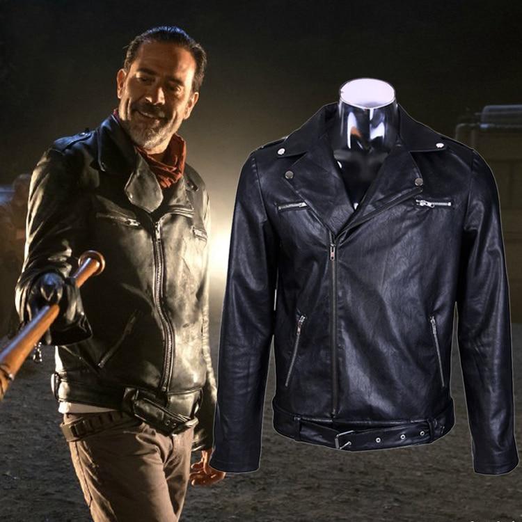 New For The Walking Dead Negan Men'S Winter Black Leather Jacket Cosplay Coat
