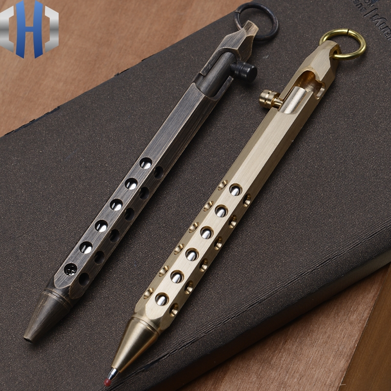 Brass Pen Manual Machine Gun Creative Retro Hexagonal Brass Pen Signature Pen Office Stationery High end Gift Pen in Outdoor Tools from Sports Entertainment