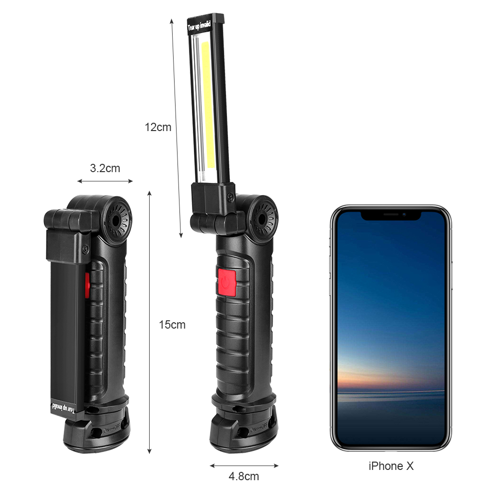 Image 3 - COB LED 5 Modes Lighting Flashlight With Hook Foldable Working Lamp Battery Operated Magnet Torch Lamp For Hunting Camping-in LED Flashlights from Lights & Lighting