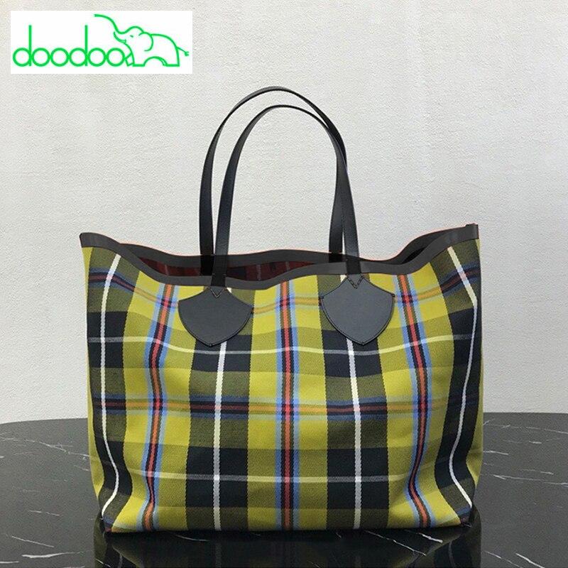 Free Shipping Vintage Big Tote Bags Female Brief Handbag Large Capacity Plaid Canvas Bag Fashion Trend