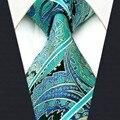 A5 verde Paisley Tecido Jacquard de Seda Clássico Marca de Moda de Nova Mens Ties Gravata tamanho extra longo Lenço