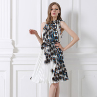 5 Styles 2016 High Quality Europe And America Elegant Fashion Summer Women Dress Peacock Printed Party