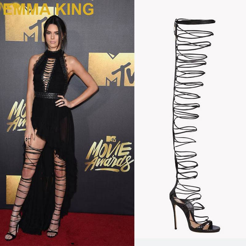 Sexy Kendall Jenner Over The Knee High Heel Sandals Boots Lace Up Strappy Gladiator Sandals Party T Stage Show Pumps Shoes Woman