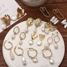 Yobest Vintage Hollow Gold Drop Earrings For Women 2019 Geometric Drop Earring DIY Wedding Irregular Freshwater Pearl Jewelry цена и фото