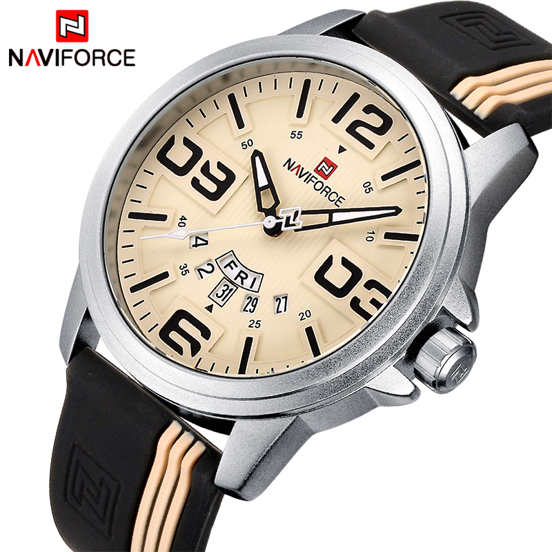 Mens Watches Top Brand Luxury NAVIFORCE Quartz-Watch Sport Silicone Strap Clock Men Waterproof Wristwatches relogio masculino watches men luxury sbao brand silicone strap men sport waterpoof wristwatches clock male quartz 7 colors watch relogio masculino