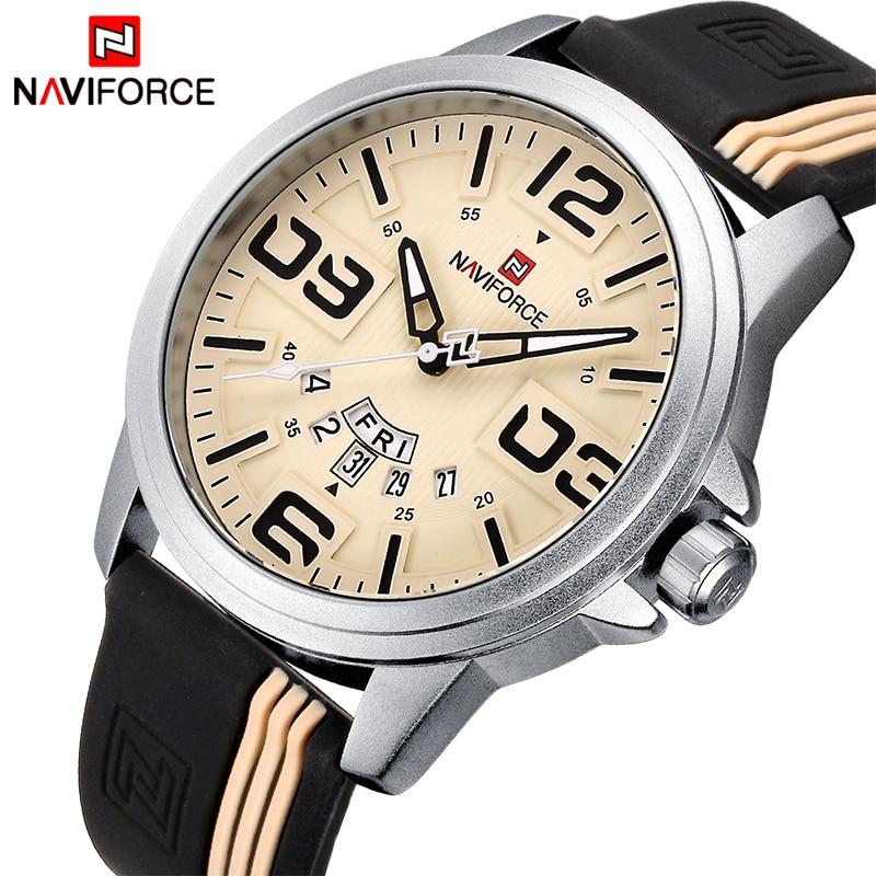 Mens Watches Top Brand Luxury NAVIFORCE Quartz-Watch Sport Silicone Strap Clock Men Waterproof Wristwatches relogio masculino