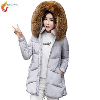 JQNZHNL Winter Down Jackets Plus size Medium length Warm Women Jacket Hooded Fur collar Down Cotton-padded Jacket Outerwear G348