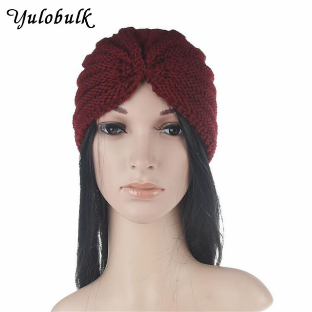 Fashion Knitted Winter Warm Hats Turban Muslim Caps Head Wear Dome Knot Caps  India Hats Women Warm Beanies Gorro Bonnet Femme 9ba7729af34
