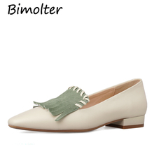 Bimolter Fashion Retro Women Basic Pumps Tassels Genuine Leather New 2019 Womens Spring Summer Shoes Party Prom NC082
