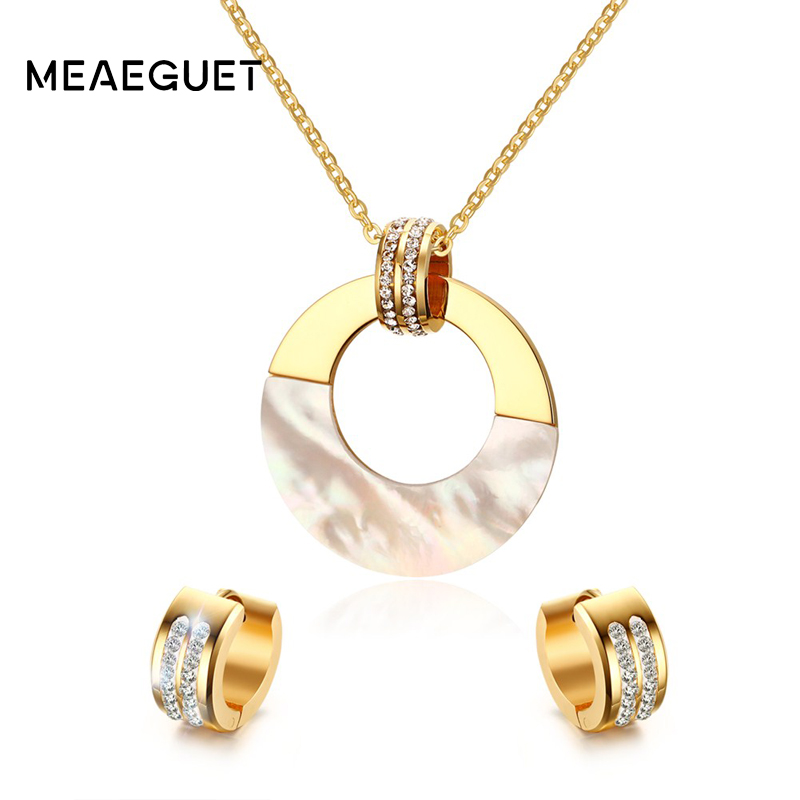Meaeguet Women Anniversary Crystal Jewelry Sets Gold Color Round Shell Pendant Necklace CZ Hoop Earrings Fashion