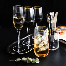 2pcs Gold rim stripe pattern crystal Glass cup Wine Glass Champagne Beer Glass cup Cocktail cup bar party home wedding drinkware цена в Москве и Питере