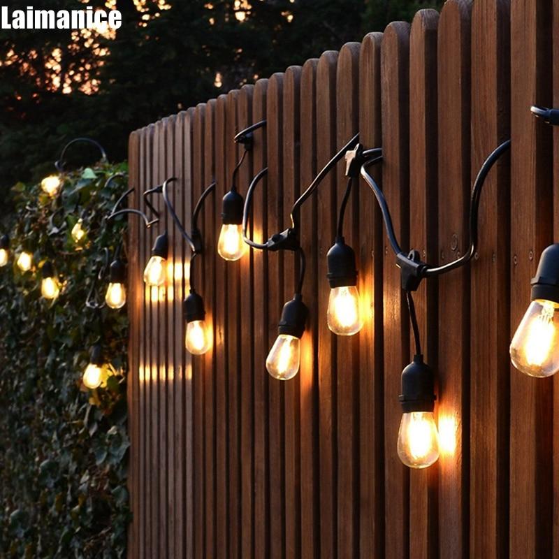 DHL 15m 15 LED String Lights Outdoor Waterproof E26 E27 S14 2W Retro Edison Filament Bulb Street Garden Patio Holiday Lighting цены