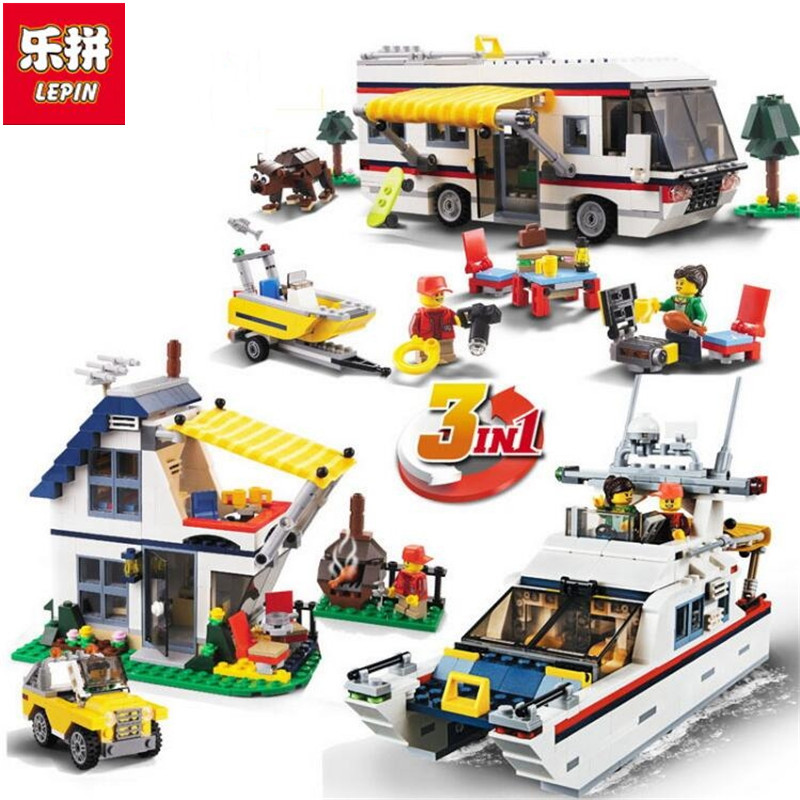 Lepin 3117 Vacation Getaways Camper Summer home Architect 3 in 1 Building Block Set 2 Mini Dolls Kids model Toys decool 3117 city creator 3 in 1 vacation getaways model building blocks enlighten diy figure toys for children compatible legoe