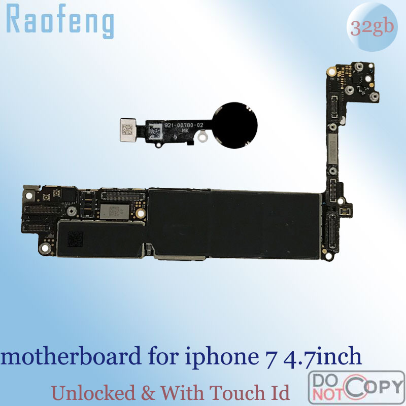 Raofeng iPhone with Touch-Id Mainboard 32GB for 7/Motherboard/4.7inch-version/Unlocked