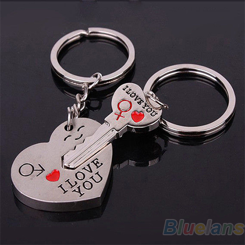 Bluelans Couple Keychain Keyring Keyfob Valentine's Day 1 Pair Lover Gift Heart Key
