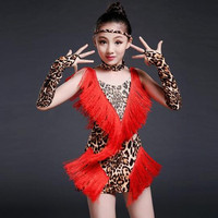 2017 Top Fashion Luxury Tassel Leopard Print Thickening Girls Latin Costume High Grade Soft Comfortable Slim Kids Dance Dress