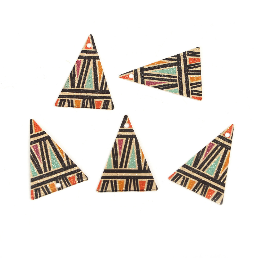DoreenBeads Copper Gold Color Enamel Painting Charms Triangle Multicolor Fashion DIY Components 25mm(1) x 18mm( 6/8), 10 PCs