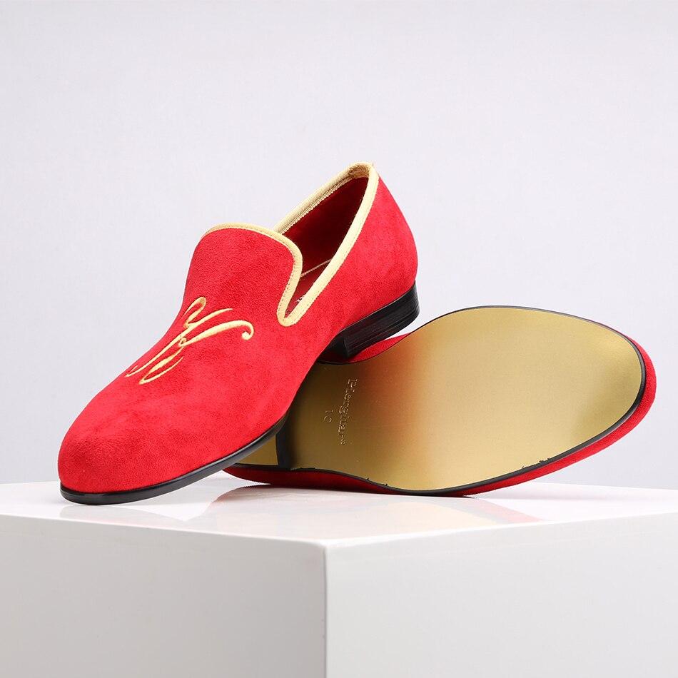 Tamaños Piergitar Estilo Zapatos Y Con Hombres Más Boda De 2018 Holgazanes Gamuza Rojo Personalidad Letras Los Nuevo Bordadas Fiesta Personalizada rUrqAR