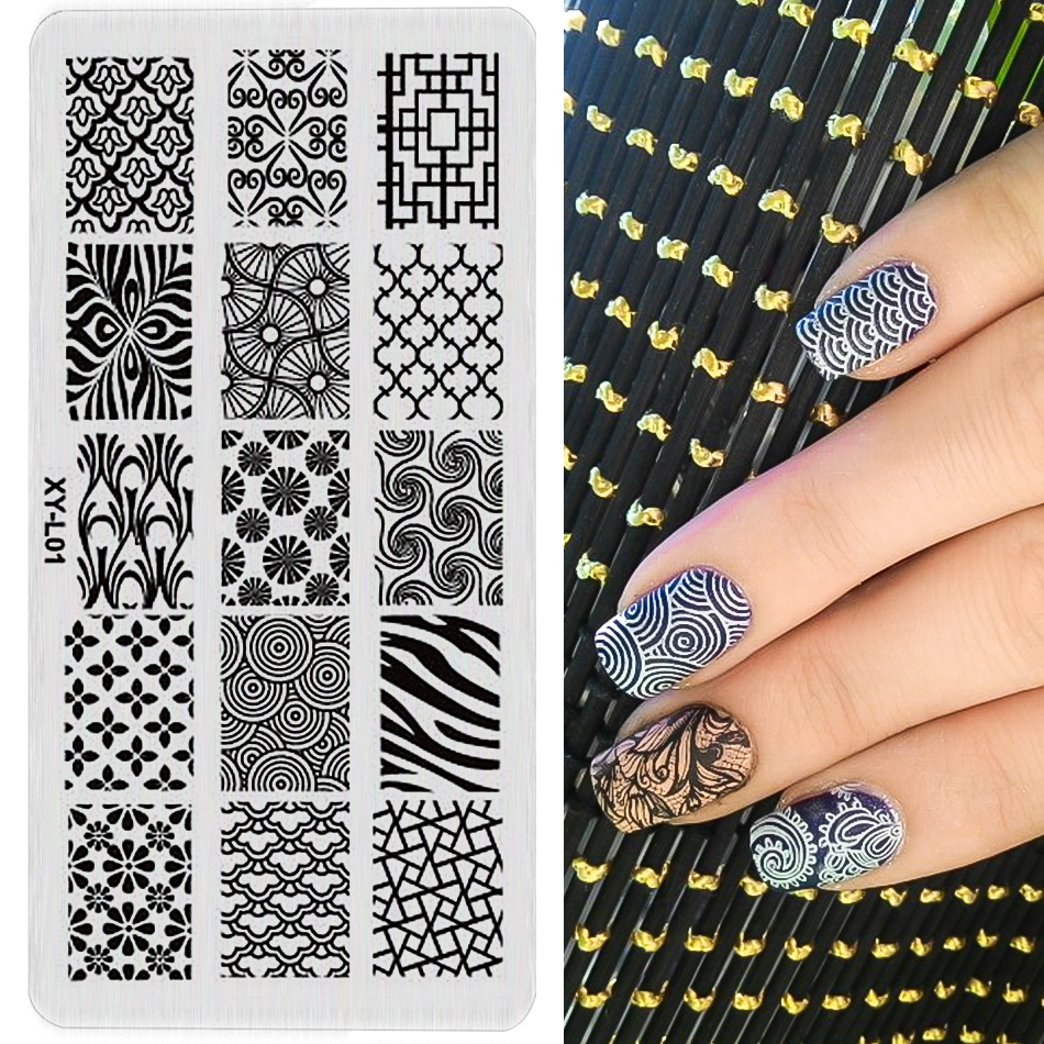 1 pc Nail Stamping Plates Plastic new arrival Stamping Plate Lace Flower Animal Pattern Nail Art Stamp Stamping Template XYL