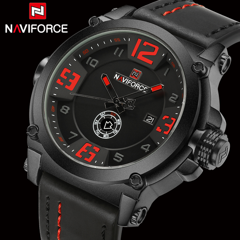 Top Luxury Brand Naviforce Mens Sport Watches Leather Quartz Watch Men Fashion Wristwatch Male Military Clock Relogios Masculino new 2017 men watches luxury top brand skmei fashion men big dial leather quartz watch male clock wristwatch relogio masculino