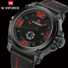 Top Luxury Brand Naviforce Mens Sport Watches Leather Quartz Watch Men Fashion Wristwatch Male Military Clock Relogios Masculino