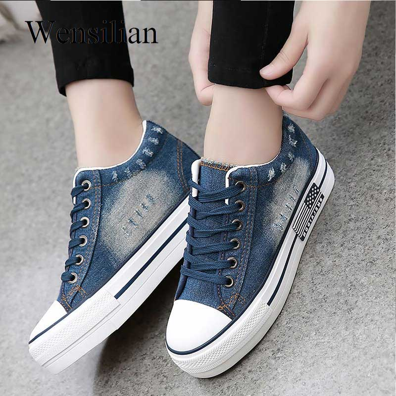 5656a899eea Hot Sale] Women Sneakers Denim Canvas Shoes Summer Female Casual ...
