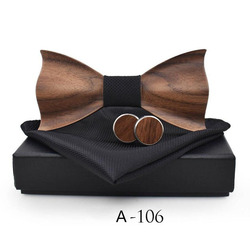 RBOCOTT Handmade Wooden Bow Tie Handkerchief Cufflinks Set Men's 3D Bow Tie Wood Pocket Square with Box Fashion For Men Wedding 6