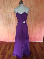 Özel Uzun Kat Uzunluk Kolsuz Sevgiliye Gelinlik Modelleri Pileli Şifon Mor Nedime Abiye Düğün Elbise